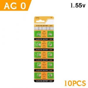 green and yellow coloured strips with 5 batteries