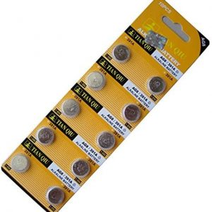 yellow coloured strips containing 10 small batteries