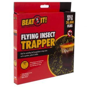 red coloured box in which flying insect trapper is written on it