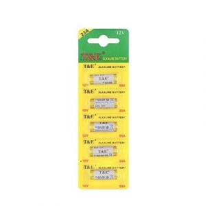 yellow coloured strips containing 5 small batteries