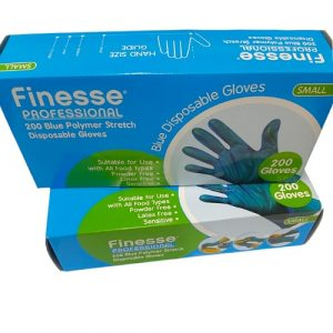 blue coloured box containing 200 disposable gloves