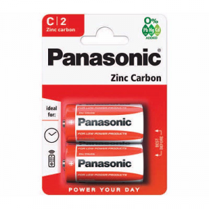 red coloured strip containing 2 panasonic batteries