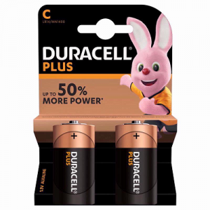 black and cream colored strip with a rabbit figure on it and written duracell plus on it