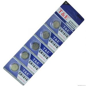 blue coloured strips containing 5 small batteries