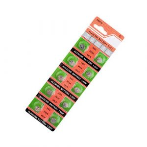 green and pink coloured strips containing 5 small batteries