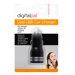 black colored usb charger in white strip.