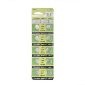 lite green coloured strips containing 10 small batteries