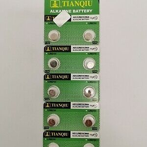 green coloured strips containing 10 small batteries