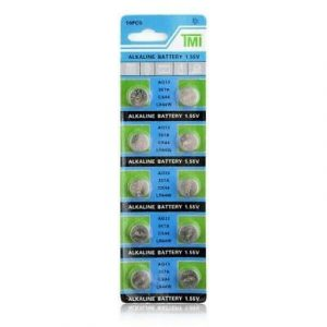 green and blue coloured strips containing 10 small batteries