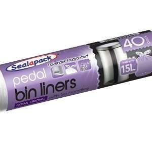 violet colored roll on which pedal binliners is printed