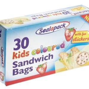 a blue color box on which a sandwich logo is printed and a text of 30 kids coloured sandwitch bags is printed